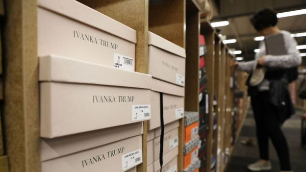 Women's shoes by the Ivanka Trump fashion brand sit for sale at a Manhattan retailer on June 1, 2017 in New York City. Recent reports claim that labor activists investigating working conditions at a Chinese factory where her company makes shoes have disappeared or been arrested.
