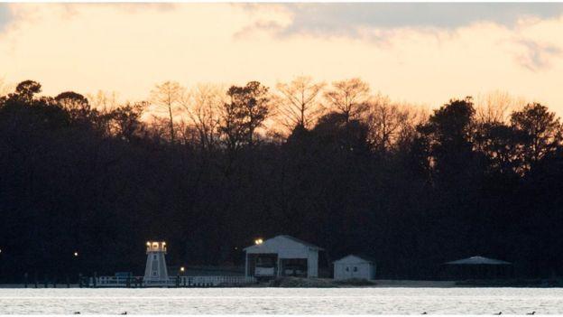 Вид на причал загородной резиденции в штате Мэриленд