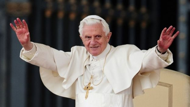 Pope Benedict XVI gesturing during a weekly general audience in St Peter's square at The Vatican in 2011
