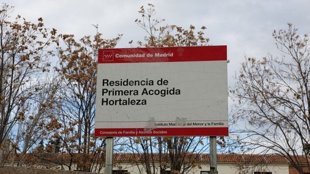 A sign at the entrance of the Centre of Minors of Hortaleza in Madrid