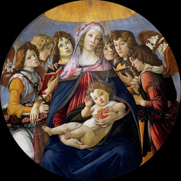 Botticelli's original Madonna of the Pomegranate in the Uffizi Gallery in Florence