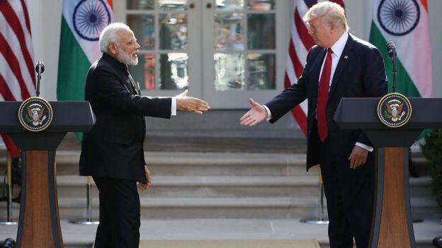 Image result for modi trump handshake