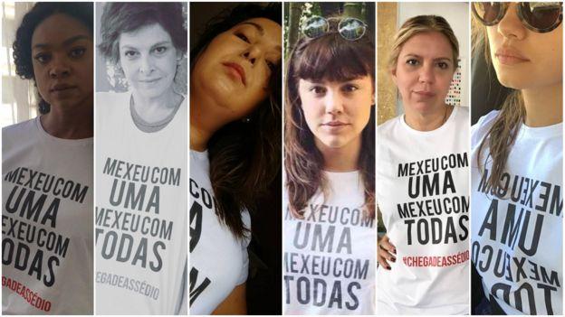 Atrizes, apresentadoras e mulheres que trabalham na Rede Globo usam camiseta da campanha
