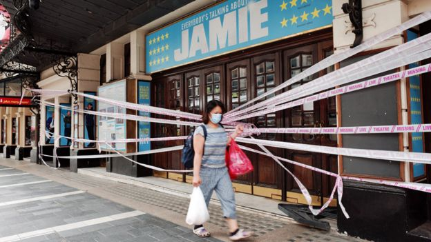 The Apollo was covered in tape as part of the Live Theatre Missing campaign in July