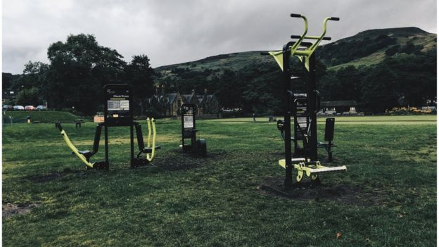 Outdoor gym in local park (Image: BBC)