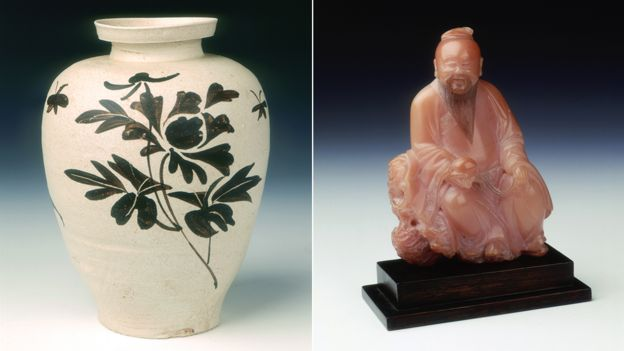 Jizhou stoneware vase and soapstone figure of Dongfang Shuo