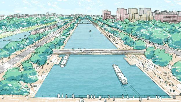 Perspectiva artística de hidrovias urbanas