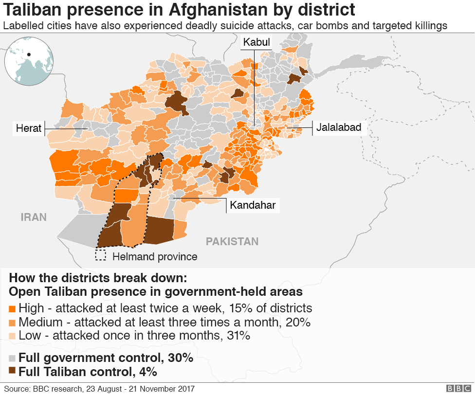 Map showing Taliban presence in Afghanistan