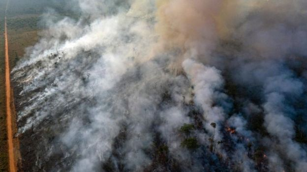 An aerial view of forest fire of the Amazon taken with a drone is seen from an Indigenous territory in the state of Mato Grosso,
