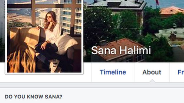 A screenshot of Sana Halimi's Facebook profile