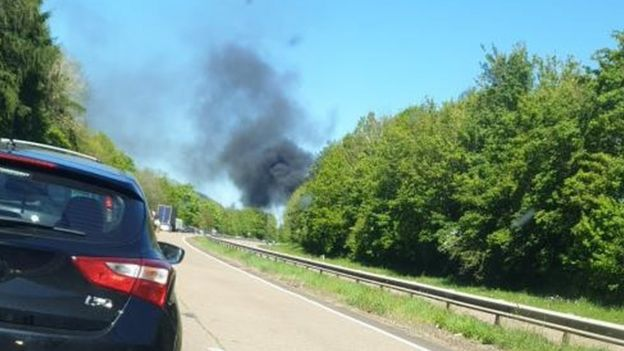 Smoke blowing over the A40