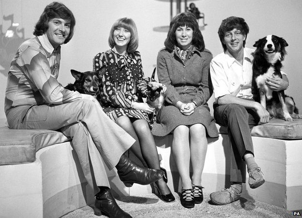 Blue Peter presenters in 1972 (from the left) Peter Purves, Lesley Judd, Valerie Singleton and John Noakes with his dog Shep