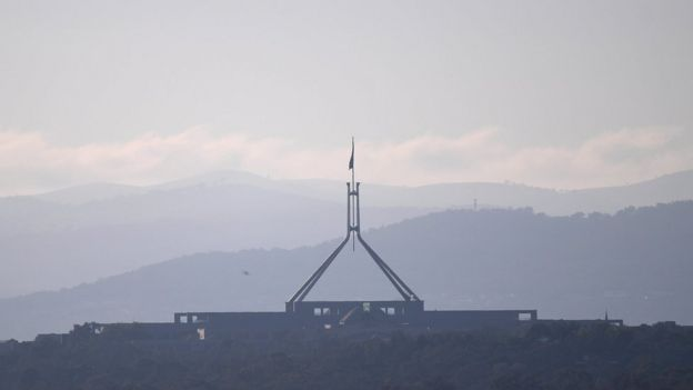 A photo of the Australian Parliament in Canberra.