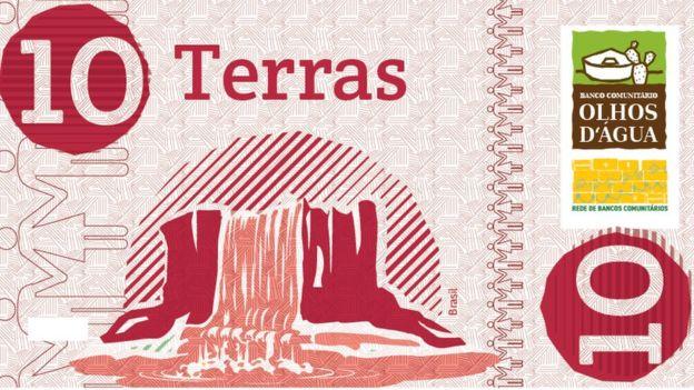 Nota de 10 Terras, moeda comunitária de Iguaci, Alagoas