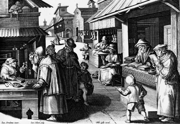 Ilustración mostrando varias personas vendiendo y usando gafas de circa 1600, hecha por Jan van der Straet.