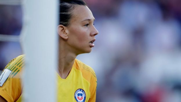 La portera chilena Christiane Endler, Mundial Femenino de fútbol Francia 2019.