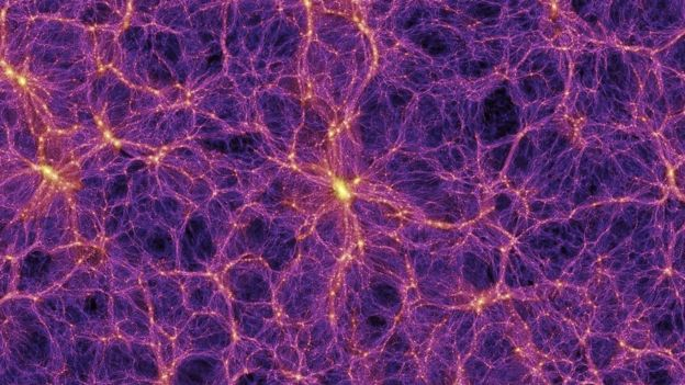 An illustration: a web of purple filaments, thin and thick, meeting with several glowing yellow centres