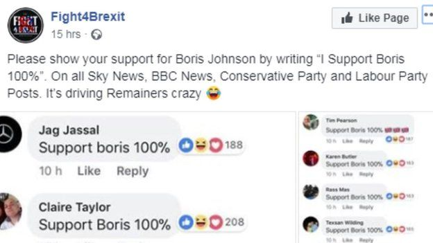 "The Fight4Brexit post that kicked things off. It says ""Please show your support for Boris Johnson by writing ""I Support Boris 100%"". On all Sky News, BBC News, Conservative Party and Labour Party Posts. It's driving Remainers crazy."