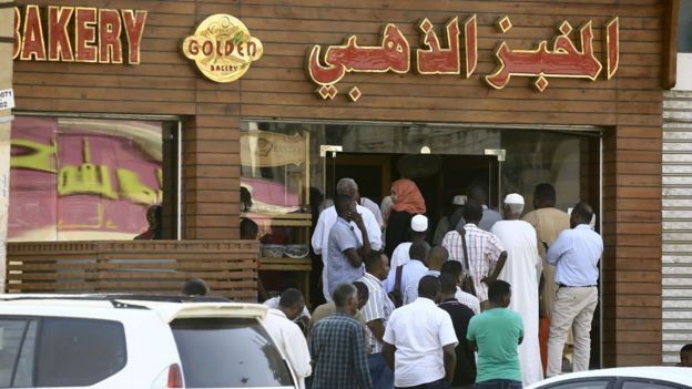 People queuing for bread in Sudan