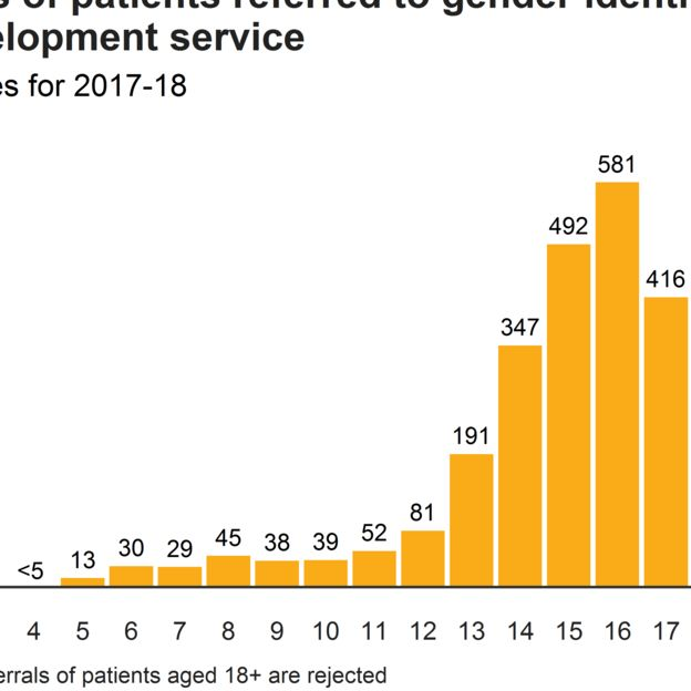 Ages of patients referred to gender identity development service