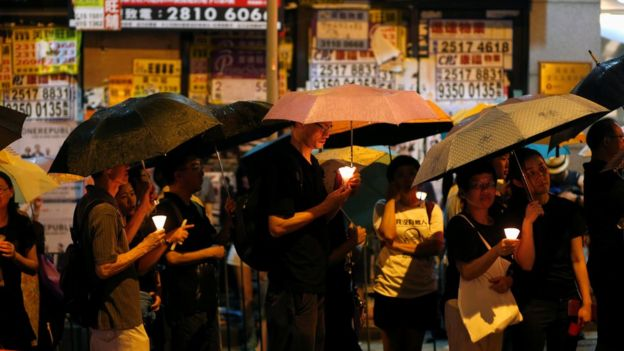 早前香港民众游行悼念刘晓波