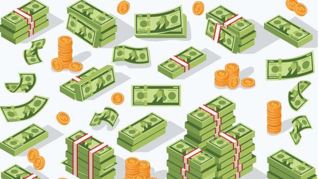 Ilustración de billetes y monedas de dólar.