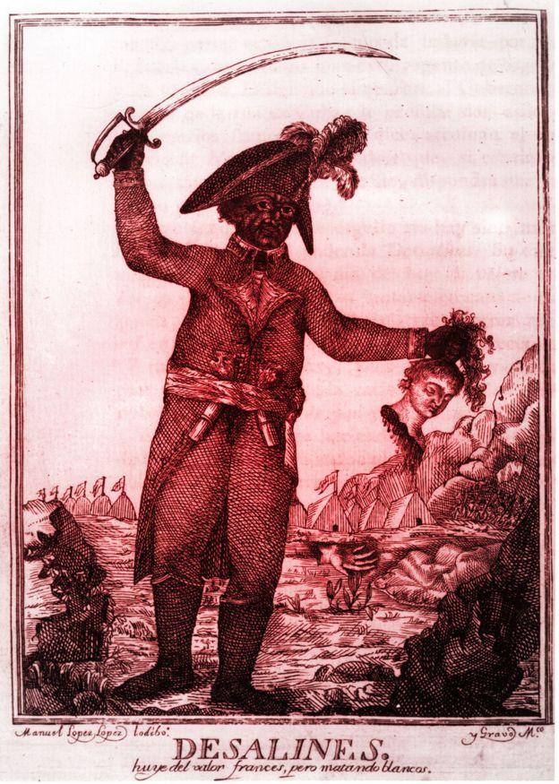 Dessalines con cabeza de blanco cortada