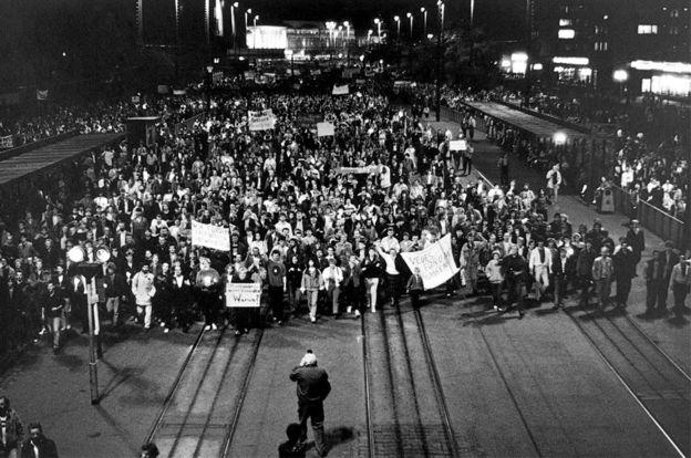 Marcha en Leipzig el 9 de octubre de 1989.