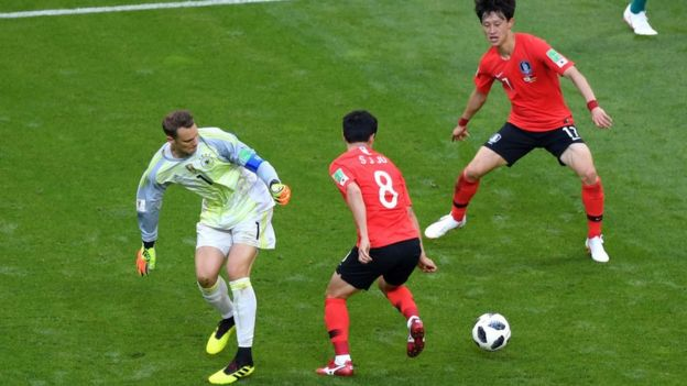 Manuel Neuer pierde la pelota en el medio campo contra dos jugadores de Corea del Sur.