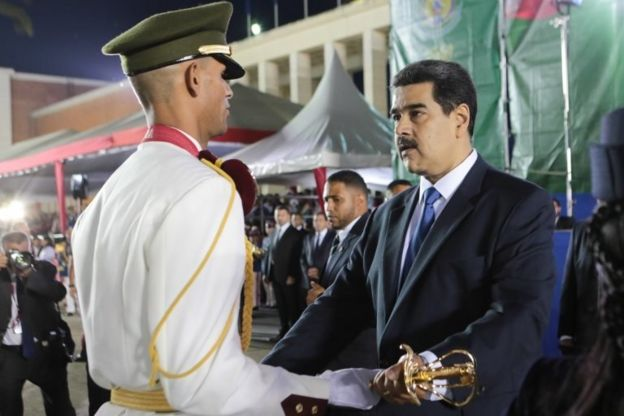 President Maduro at a graduation ceremony of the armed forces
