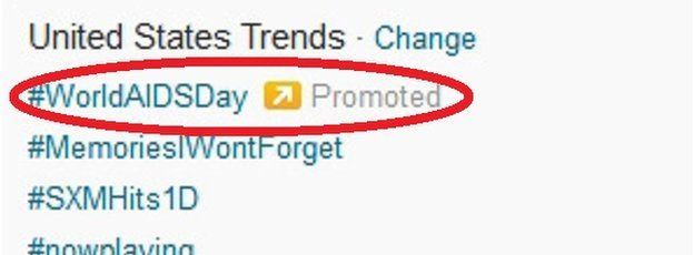 "An image clearly showing a ""promoted Trend"""