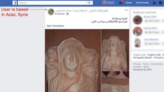 Antiquities looted in Syria and Iraq are sold on Facebook
