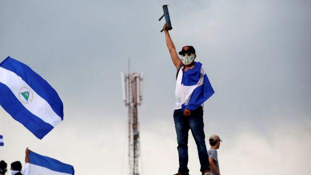 Manifestante antigubernamental en Nicaragua.