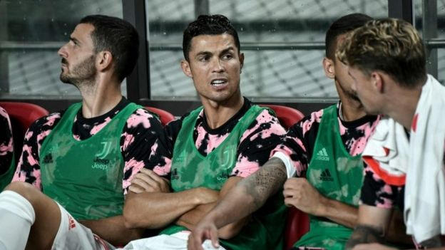 Ronaldo sits on the subs' bench in South Korea