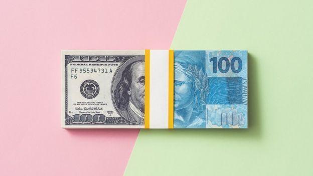 Imagem funde dólar e real