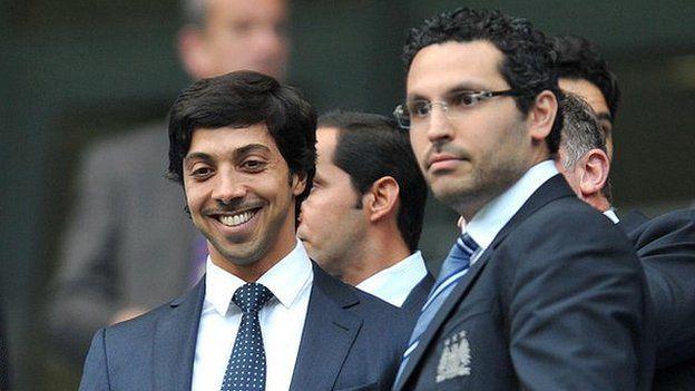 Manchester City owner Sheikh Mansour (left) and chairman Khaldoon Al Mubarak