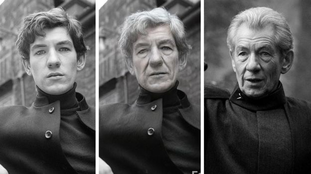 Composite image of Sir Ian McKellen before the app, after it and what he looks like now