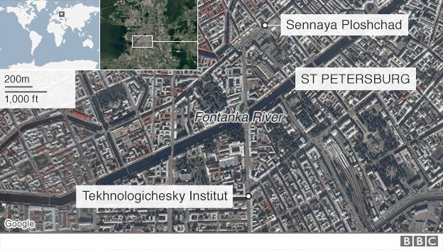 Map showing scene of explosion in St Petersburg - 3 April 2017