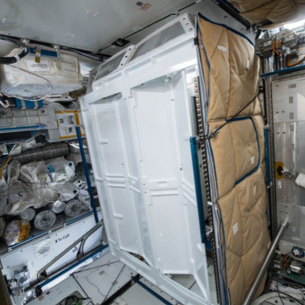A toilet stall on the ISS