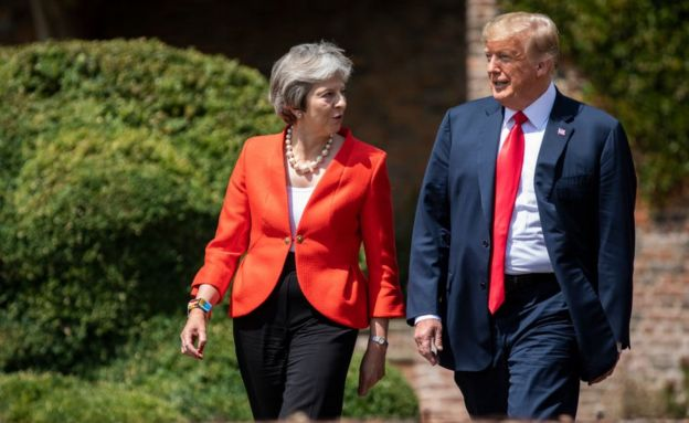 Trump y May en Londres.