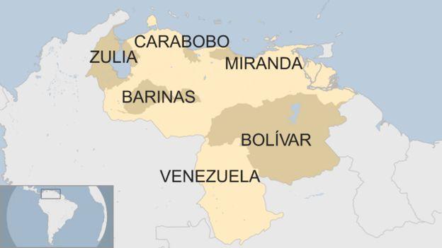 Mapa estados clave en las elecciones de Venezuela