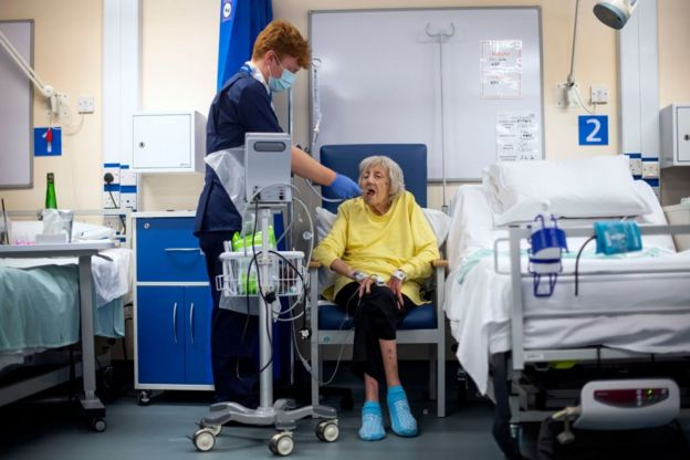 Mujer anciana hospitalizada por covid-19