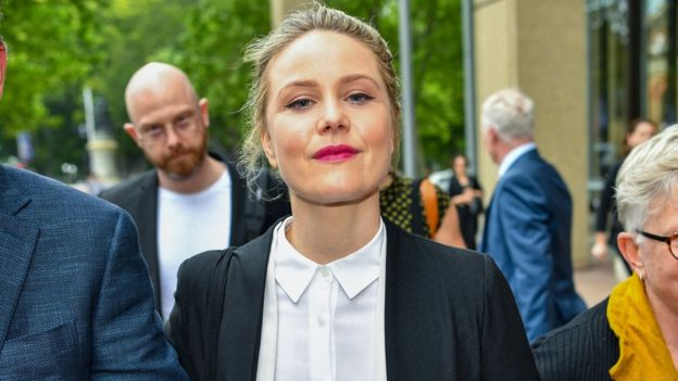 Actress Eryn Jean Norvill outside the defamation trial