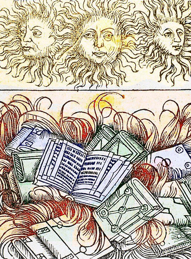 Libros quemándose en la Biblioteca de Alejandría (siglo I a.C.), Grabado, siglo XVI