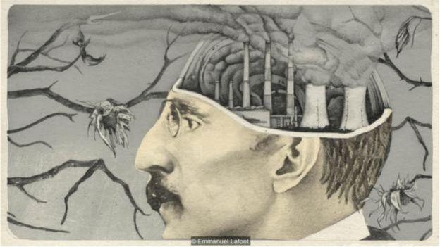 Ilustração de cabela de homem com chaminés saindo fumaça