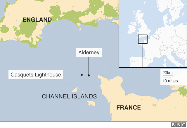 Map showing location of Alderney and lighthouse