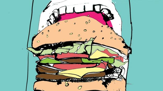 Ilustración de boca con hamburguesa