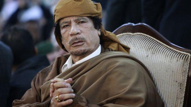 Muammar Gaddafi pictured in Tripoli in 2011