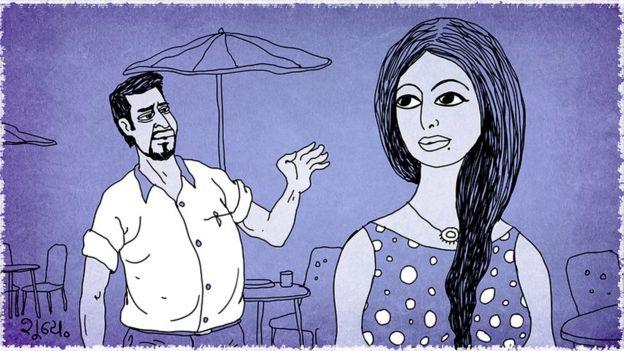Ilustración de un hombre hablándole a una mujer.