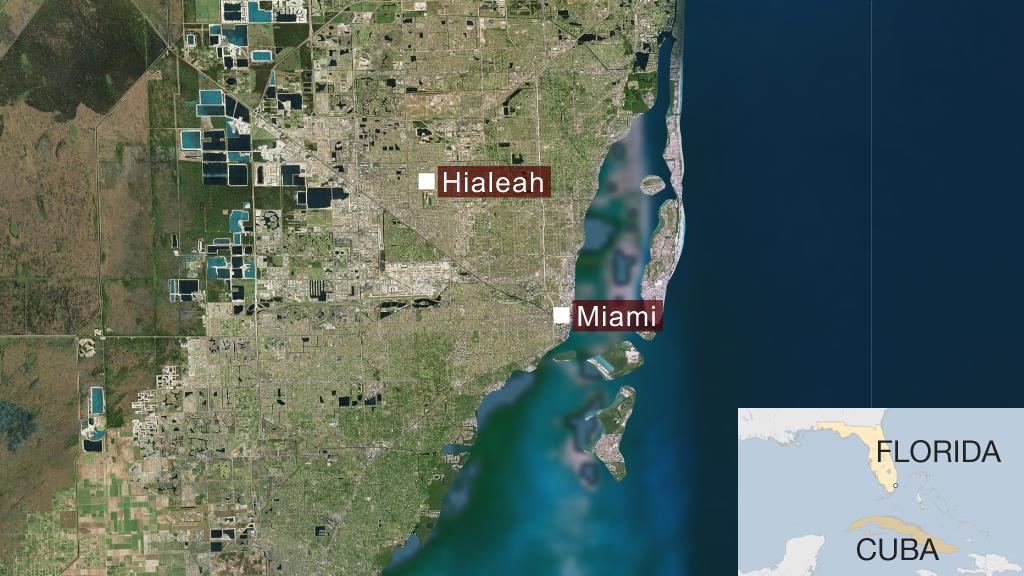 """Cómo es Hialeah, la ciudad de EE.UU. con el 96% de habitantes latinos donde """"se puede vivir sin hablar inglés"""" _103517490_mapa_hialeah_miami_florida_mundo-nc"""